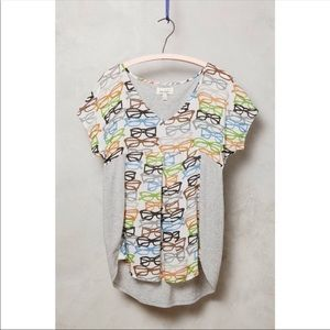 Anthropologie Porridge Top Gray eyeglass print tee